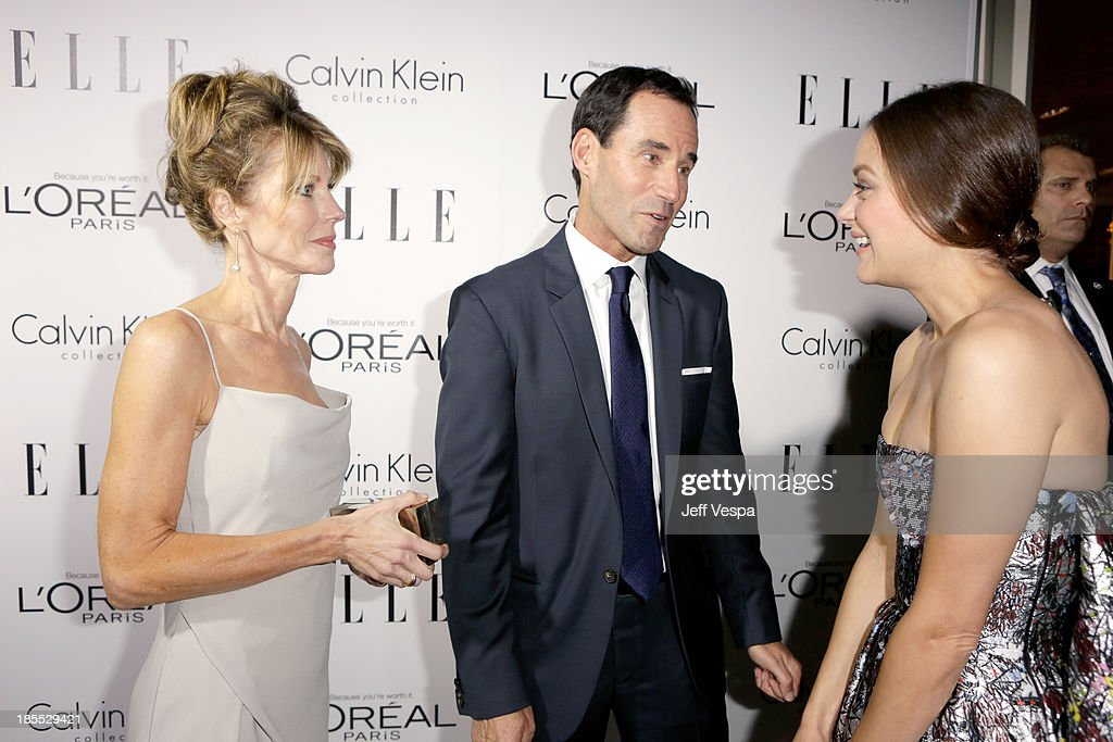 Elle Editor in Chief Robbie Myers, Elle SVP, Publisher Kevin O'Malley and Honoree Marion Cotillard attend ELLE's 20th Annual Women In Hollywood Celebration at Four Seasons Hotel Los Angeles at Beverly Hills on October 21, 2013 in Beverly Hills, California.