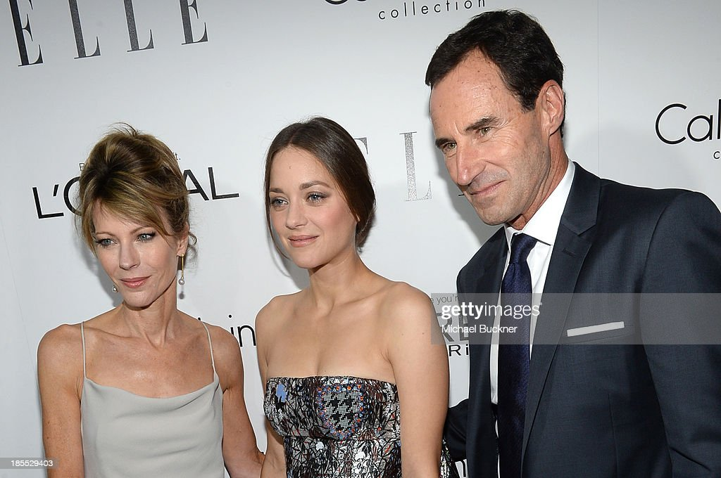 Elle Editor in Chief Robbie Myers, Honoree Marion Cotillard and Elle SVP, Publisher Kevin O'Malley attend ELLE's 20th Annual Women In Hollywood Celebration at Four Seasons Hotel Los Angeles at Beverly Hills on October 21, 2013 in Beverly Hills, California.