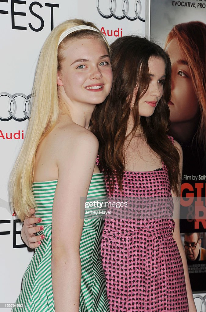 <a gi-track='captionPersonalityLinkClicked' href=/galleries/search?phrase=Elle+Fanning&family=editorial&specificpeople=2189940 ng-click='$event.stopPropagation()'>Elle Fanning</a> and Alice Englert arrive at the 'Ginger And Rosa' special screening during AFI Fest 2012 at Grauman's Chinese Theatre on November 7, 2012 in Hollywood, California.