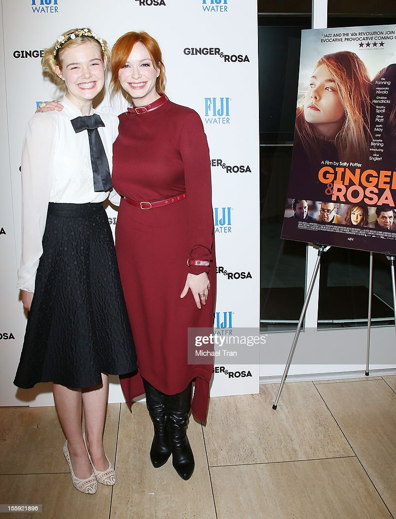 <a gi-track='captionPersonalityLinkClicked' href=/galleries/search?phrase=Elle+Fanning&family=editorial&specificpeople=2189940 ng-click='$event.stopPropagation()'>Elle Fanning</a> (L) and <a gi-track='captionPersonalityLinkClicked' href=/galleries/search?phrase=Christina+Hendricks&family=editorial&specificpeople=2239736 ng-click='$event.stopPropagation()'>Christina Hendricks</a> arrive at the Los Angeles special screening of 'Ginger & Rosa' held at The Paley Center for Media on November 8, 2012 in Beverly Hills, California.