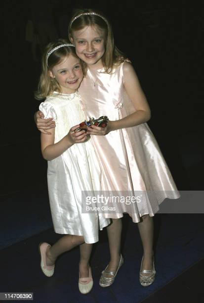 Elle Fanning and Dakota Fanning during Dakota Fanning Visits 'Chitty Chitty Bang Bang' on Broadway June 24 2005 at The Hilton Theater in New York New...