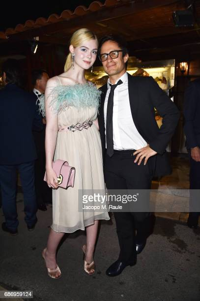 Elle Fanning and Gael Garcia Bernal attend Fondazione Prada Private Dinner during the 70th annual Cannes Film Festival at Restaurant Fred L'Ecailler...