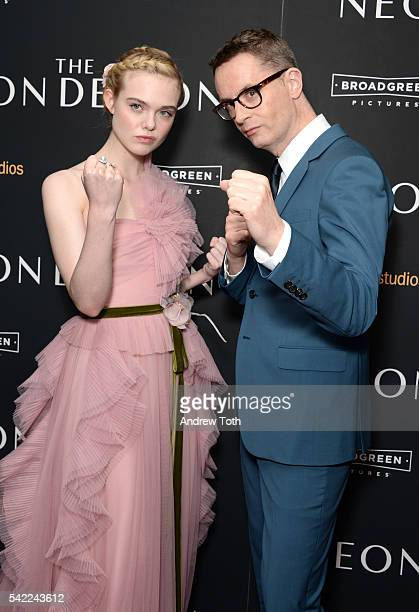 Elle Fanning and Nicolas Winding Refn attend the 'The Neon Demon' New York premiere at Metrograph on June 22 2016 in New York City