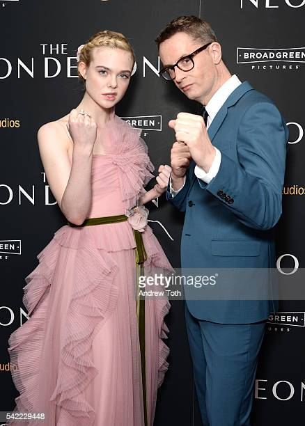 Elle Fanning and Nicolas Winding Refn attends the 'The Neon Demon' New York premiere at Metrograph on June 22 2016 in New York City