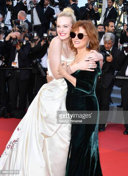 Elle Fanning and Susan Sarandon attend the 'Ismael's Ghosts ' screening and Opening Gala during the 70th annual Cannes Film Festival at Palais des...