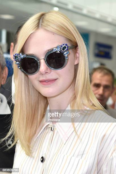 Elle Fanning arrives at Nice airport ahead of the 70th annual Cannes Film Festival at on May 16 2017 in Cannes France