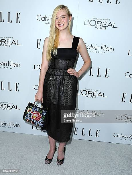 Elle Fanning arrives at the 19th Annual ELLE Women In Hollywood Celebration at Four Seasons Hotel Los Angeles at Beverly Hills on October 15 2012 in...