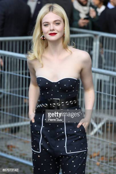 Elle Fanning arrives at the Miu Miu show as part of the Paris Fashion Week Womenswear Spring/Summer 2018 on October 3 2017 in Paris France