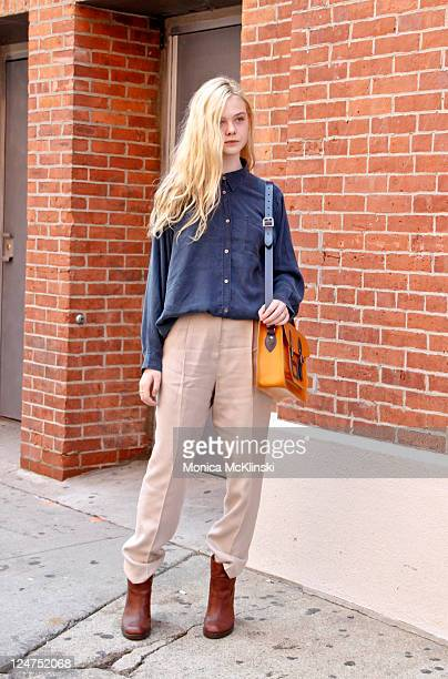 Elle Fanning arrives for the Ohne Titel Showing iat Milk Studios in Manhattan during Spring 2012 Fashion Week on September 12 2011 in New York City
