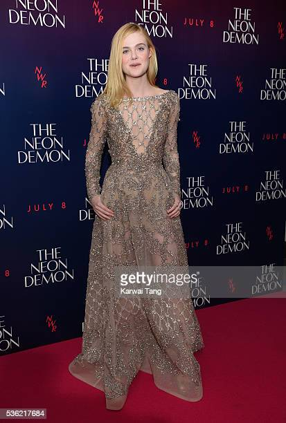 Elle Fanning arrives for the UK Premiere of The Neon Demon at the Picturehouse Central on May 31 2016 in London United Kingdom