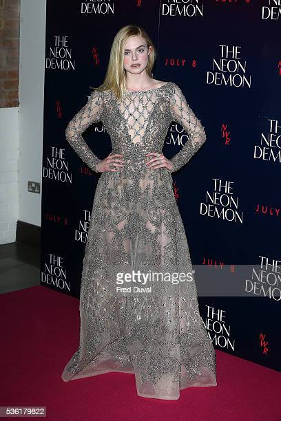 Elle Fanning arrives for the UK Premiere of The Neon Demon on May 31 2016 in London United Kingdom