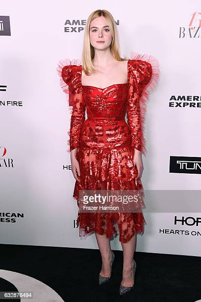 Elle Fanning attends Harper's BAZAAR celebration of the 150 Most Fashionable Women presented by TUMI in partnership with American Express La Perla...
