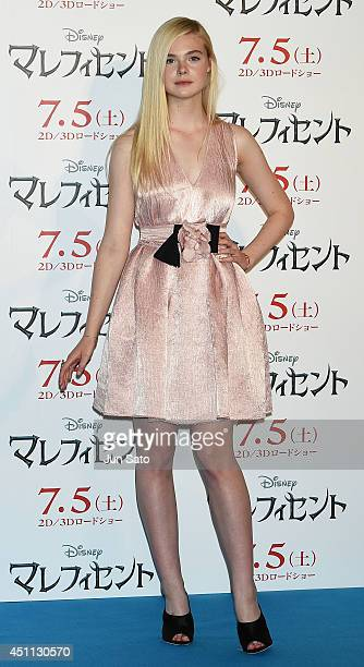 Elle Fanning attends 'Maleficent' press conference for Japan premiere at Grand Hyatt Tokyo on June 24 2014 in Tokyo Japan