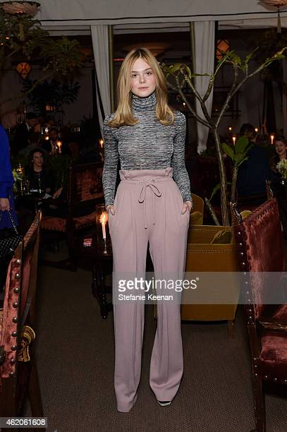 Elle Fanning attends Rodarte x Superga Dinner Hosted By Gia Coppola at Chateau Marmont on January 23 2015 in Los Angeles California