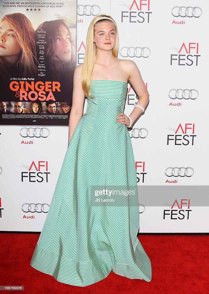 Elle Fanning attends the 2012 AFI FEST 'Ginger & Rosa' Special Screening at Grauman's Chinese Theatre on November 7, 2012 in Hollywood, California.