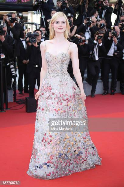 Elle Fanning attends the 70th Anniversary screening during the 70th annual Cannes Film Festival at Palais des Festivals on May 23 2017 in Cannes...