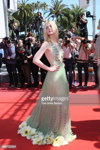 Elle Fanning attends the 'How To Talk To Girls At Parties' screening during the 70th annual Cannes Film Festival at Palais des Festivals on May 21...