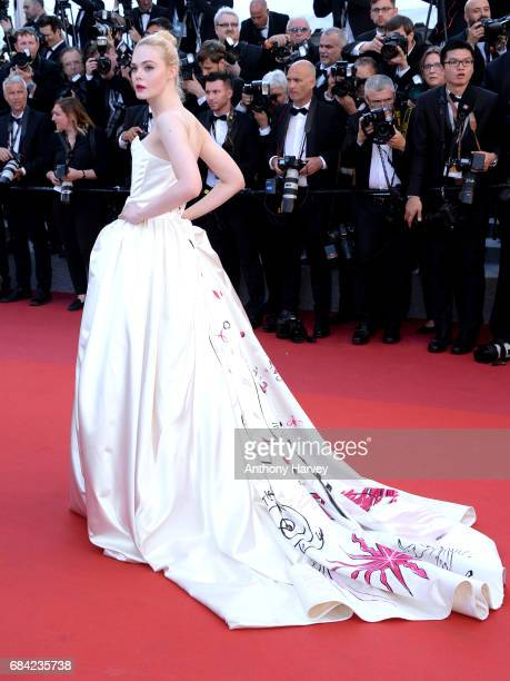Elle Fanning attends the 'Ismael's Ghosts ' screening and Opening Gala during the 70th annual Cannes Film Festival at Palais des Festivals on May 17...