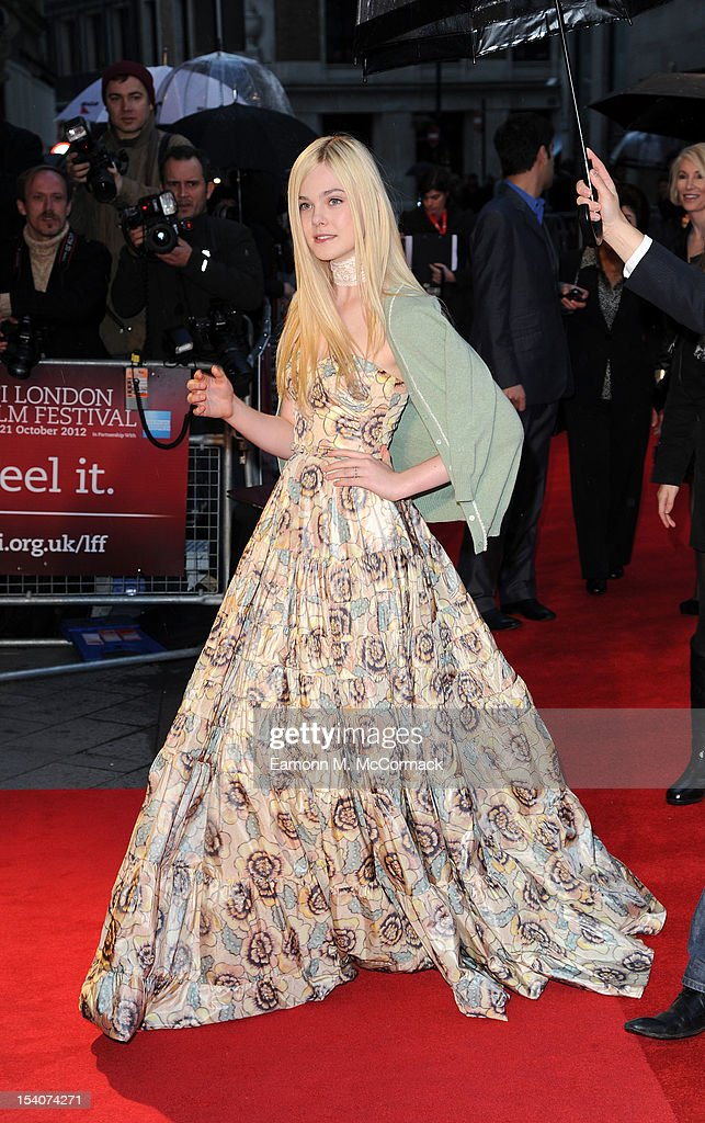 Elle Fanning attends the premiere of 'Ginger And Rosa' during the 56th BFI London Film Festival at Odeon West End on October 13, 2012 in London, England.