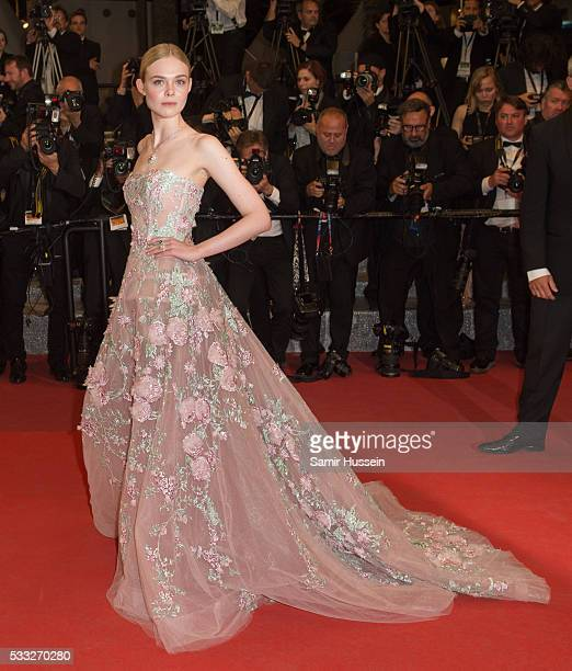 Elle Fanning attends the screening of 'The Neon Demon' at the annual 69th Cannes Film Festival at Palais des Festivals on May 20 2016 in Cannes France