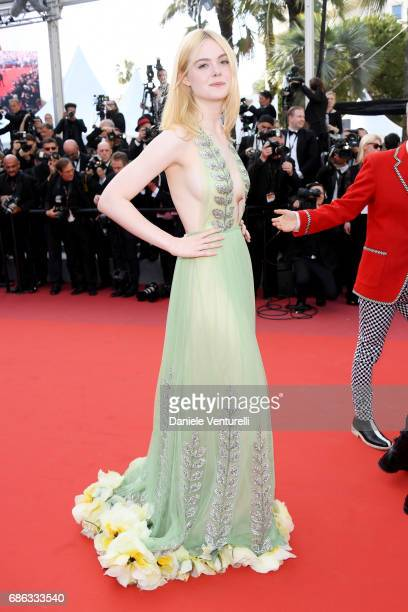 Elle Fanning departs after the 'How To Talk To Girls At Parties' screening during the 70th annual Cannes Film Festival at Palais des Festivals on May...