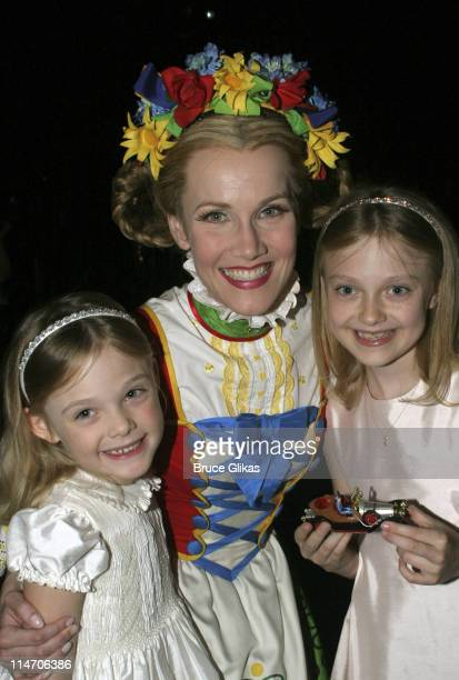 Elle Fanning Erin Dilly and Dakota Fanning during Dakota Fanning Visits 'Chitty Chitty Bang Bang' on Broadway June 24 2005 at The Hilton Theater in...
