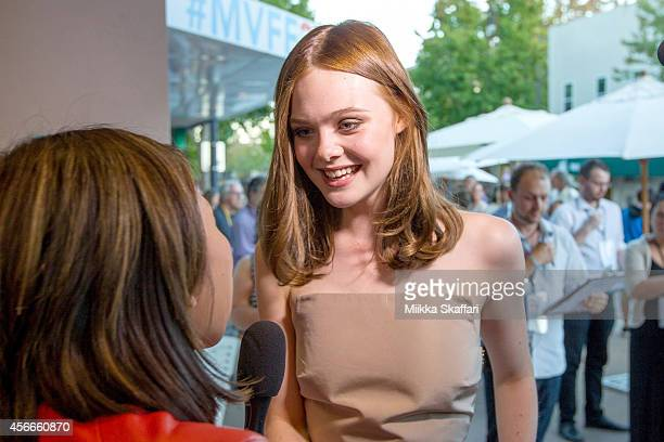 Elle Fanning gives an interview at the Spotlight Program And Screening Of 'Low Down' at Christopher B Smith Rafael Film Center on October 4 2014 in...