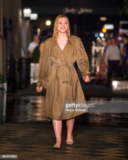 Elle Fanning is seen filming an untitled movie directed by Woody Allen on September 27 2017 in New York New York