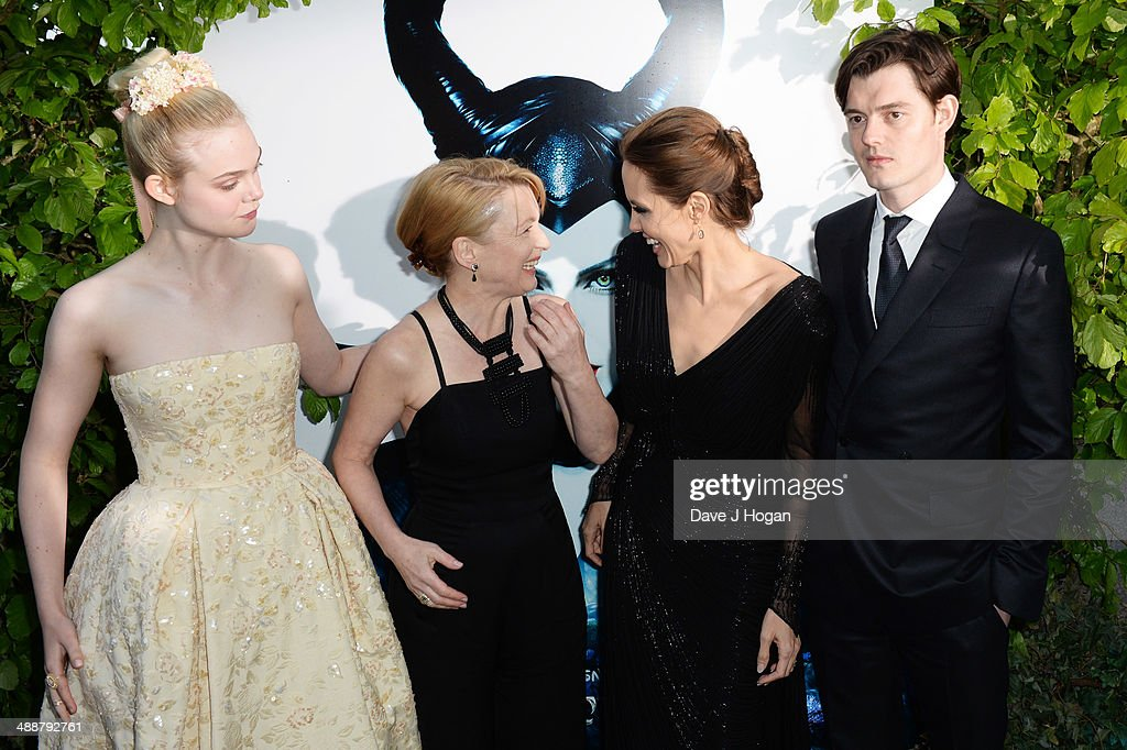 Elle Fanning Lesley Manville Angelina Jolie and Sam Riley attend the 'Maleficent' Costume And Props Private Reception at Kensington Palace on May 8...