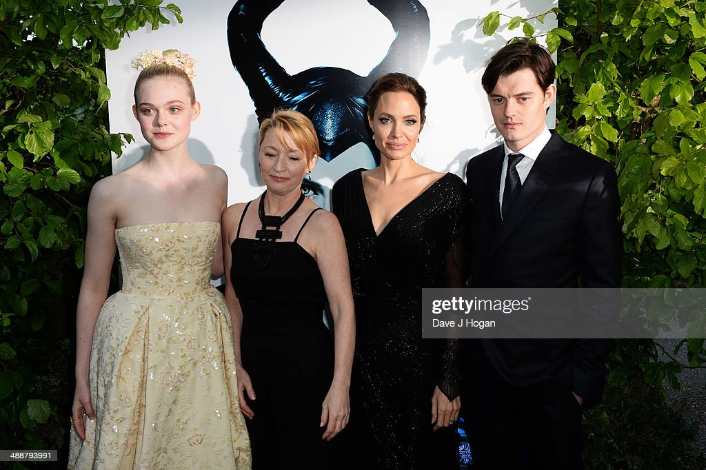 Elle Fanning, Lesley Manville, Angelina Jolie and Sam Riley attend the 'Maleficent' Costume And Props Private Reception at Kensington Palace on May 8, 2014 in London, England.