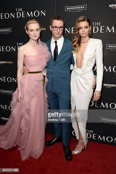 Elle Fanning Nicolas Winding Refn and Abbey Lee attends the 'The Neon Demon' New York premiere at Metrograph on June 22 2016 in New York City