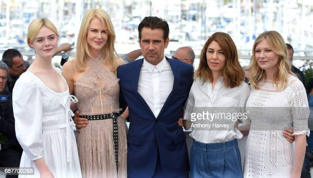 Elle Fanning Nicole Kidman Colin Farrell Sophia Coppola and Kirsten Dunst attend the 'The Beguiled' Photocall during the 70th annual Cannes Film...