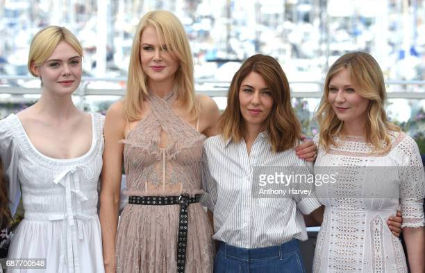 Elle Fanning Nicole Kidman Sophia Coppola and Kirsten Dunst attend the 'The Beguiled' Photocall during the 70th annual Cannes Film Festival at Palais...