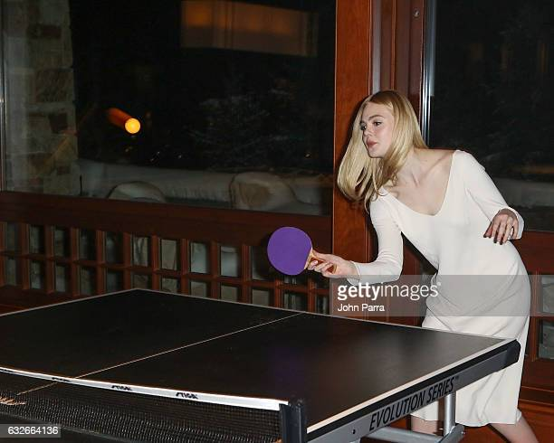 Elle Fanning playing ping pong at the GOOGLE HOME Super Crispy Films celebrate 'Sidney Hall' at the home of Barry Amy Baker on January 24 2017 in...
