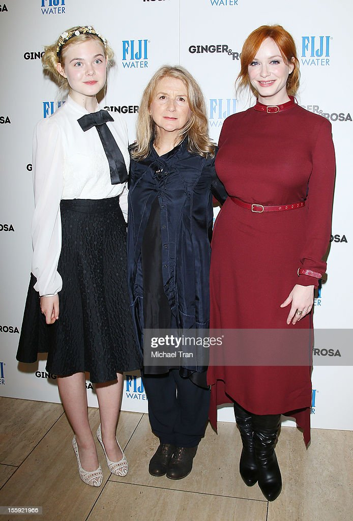 <a gi-track='captionPersonalityLinkClicked' href=/galleries/search?phrase=Elle+Fanning&family=editorial&specificpeople=2189940 ng-click='$event.stopPropagation()'>Elle Fanning</a>, <a gi-track='captionPersonalityLinkClicked' href=/galleries/search?phrase=Sally+Potter&family=editorial&specificpeople=212743 ng-click='$event.stopPropagation()'>Sally Potter</a> and <a gi-track='captionPersonalityLinkClicked' href=/galleries/search?phrase=Christina+Hendricks&family=editorial&specificpeople=2239736 ng-click='$event.stopPropagation()'>Christina Hendricks</a> arrive at the Los Angeles special screening of 'Ginger & Rosa' held at The Paley Center for Media on November 8, 2012 in Beverly Hills, California.