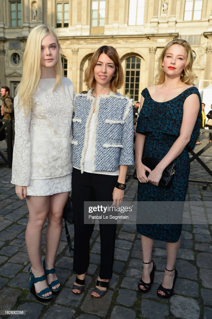 <a gi-track='captionPersonalityLinkClicked' href=/galleries/search?phrase=Elle+Fanning&family=editorial&specificpeople=2189940 ng-click='$event.stopPropagation()'>Elle Fanning</a>, <a gi-track='captionPersonalityLinkClicked' href=/galleries/search?phrase=Sofia+Coppola&family=editorial&specificpeople=202230 ng-click='$event.stopPropagation()'>Sofia Coppola</a> and <a gi-track='captionPersonalityLinkClicked' href=/galleries/search?phrase=Haley+Bennett&family=editorial&specificpeople=2308488 ng-click='$event.stopPropagation()'>Haley Bennett</a> attend the Louis Vuitton show as part of the Paris Fashion Week Womenswear Spring/Summer 2014 at Le Carre du Louvre on October 2, 2013 in Paris, France.