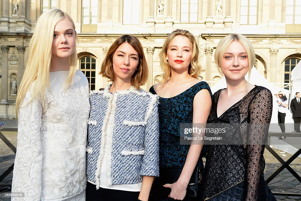 Elle Fanning, Sofia Coppola, Haley Bennett and Dakota Fanning attend the Louis Vuitton show as part of the Paris Fashion Week Womenswear Spring/Summer 2014 at Le Carre du Louvre on October 2, 2013 in Paris, France.