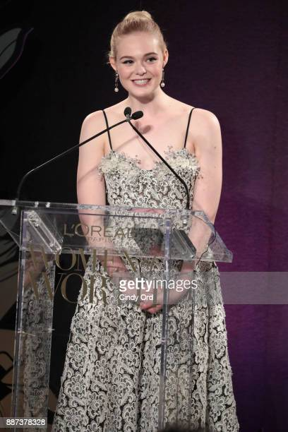 Elle Fanning speaks onstage during the L'Oreal Paris Women of Worth Celebration 2017 on December 6 2017 in New York City
