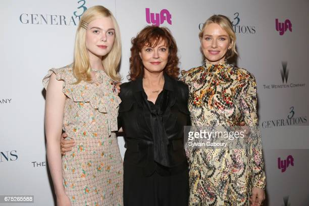 Elle Fanning Susan Sarandon and Naomi Watts attend The Weinstein Company and Lyft host a special screening of '3 Generations' on April 30 2017 in New...