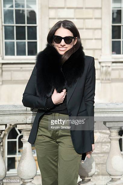 Elle Fashion Marketing Editor Jade Frampton wears Isabel Marant trousers and jacket The Row bag on day 3 of London Collections Women on February 22...
