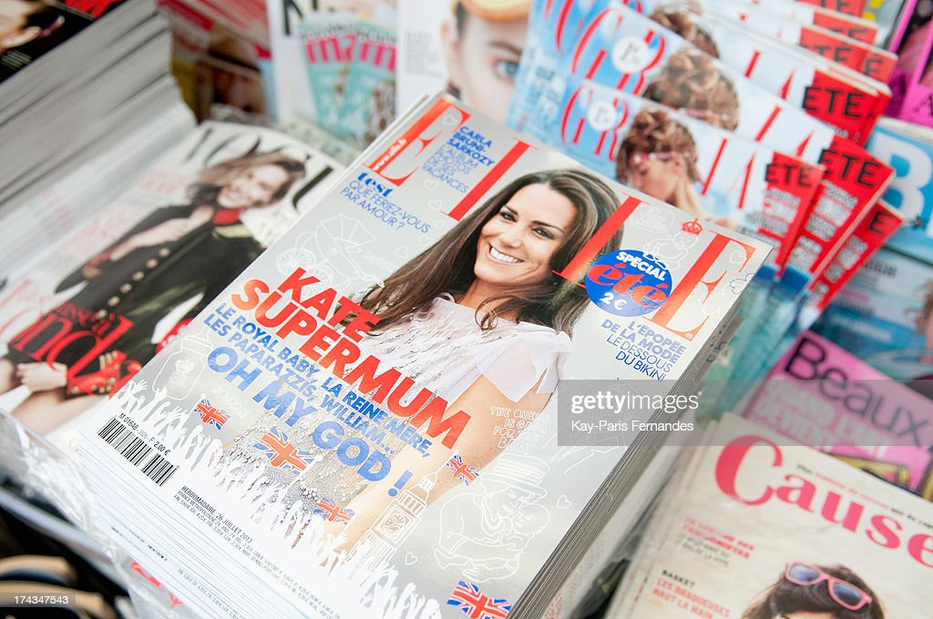 Elle France covers Britain's Catherine, the Duchess of Cambridge on July 24, 2013 in Paris, France. The Duchess of Cambridge gave birth to a boy on July 22 at 16.24 BST with Prince William at her side.