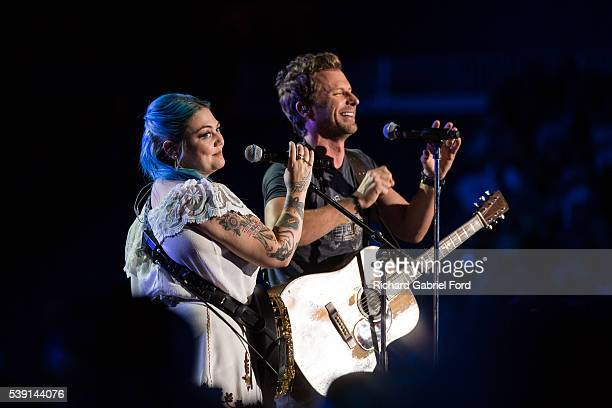 Elle King and Dierks Bentley perform during the 2016 CMA Music Festival at Nissan Stadium on June 9 2016 in Nashville Tennessee