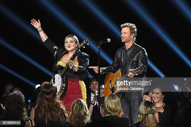 Elle King and Dierks Bentley perform onstage at the 50th annual CMA Awards at the Bridgestone Arena on November 2 2016 in Nashville Tennessee