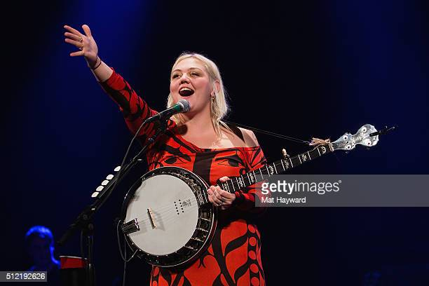 Elle King performs on stage during the Vance Joy 'Fire and Flood' tour at Paramount Theatre on February 24 2016 in Seattle Washington