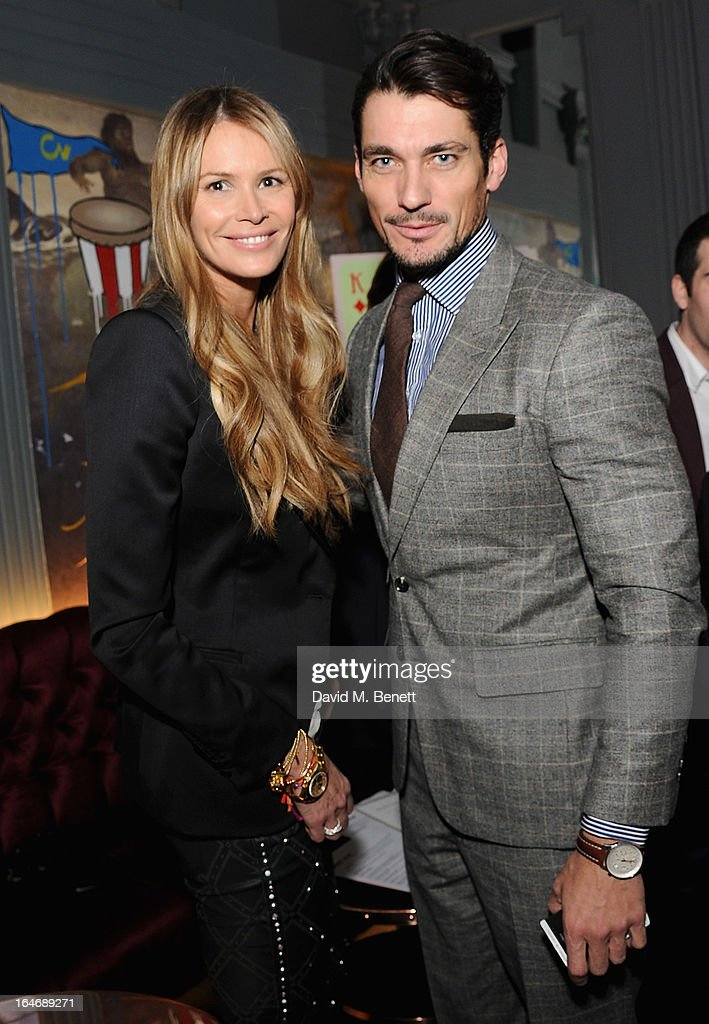 USE. Elle Macpherson and David Gandy attends The Right To Play host a private dinner for Barry the Dog fitness trainer ahead of his husky expedition across the Arctic at 3 Cromwell Road on March 26, 2013 in London, England.