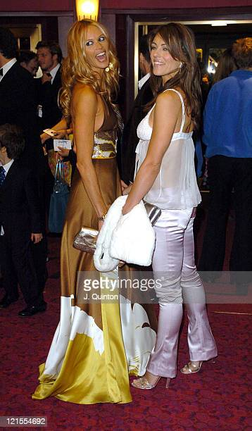 Elle MacPherson and Elizabeth Hurley during 'Mary Poppins' Gala Evening Inside Arrivals at Prince Edward Theatre in London Great Britain