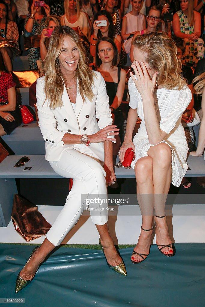 Elle Macpherson and Eva Herzigova attend the Marc Cain Arrivals - Mercedes-Benz Fashion Week Berlin Spring/Summer 2016 on July 07, 2015 in Berlin, Germany.