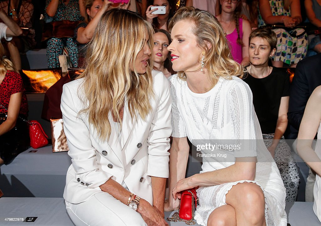Elle Macpherson and Eva Herzigova attend the Marc Cain Arrivals - Mercedes-Benz Fashion Week Berlin Spring/Summer 2016 on July 07, 2015 in Berlin, Germany.
