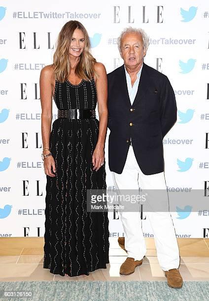 Elle Macpherson and Gilles Bennison arrive at TwitterAU HQ on September 12 2016 in Sydney Australia