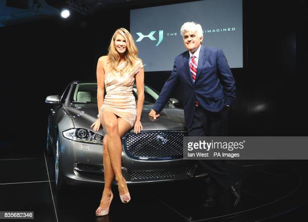 Elle MacPherson and Jay Leno at the launch of the new Jaguar XJ at the Saatchi Gallery in London